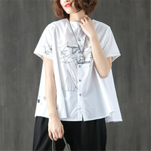 BUYKUD 2018 Women Cotton White Summer T-shirt Printed Single Breasted Short  Sleeve 70aa46fe34b0