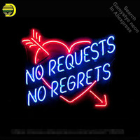 Neon Sign For NO REQUESTS NO REGRETS Real Glass Tubes Neon Bulbs Heart neon Windows light custom Handmade neon signs for sale
