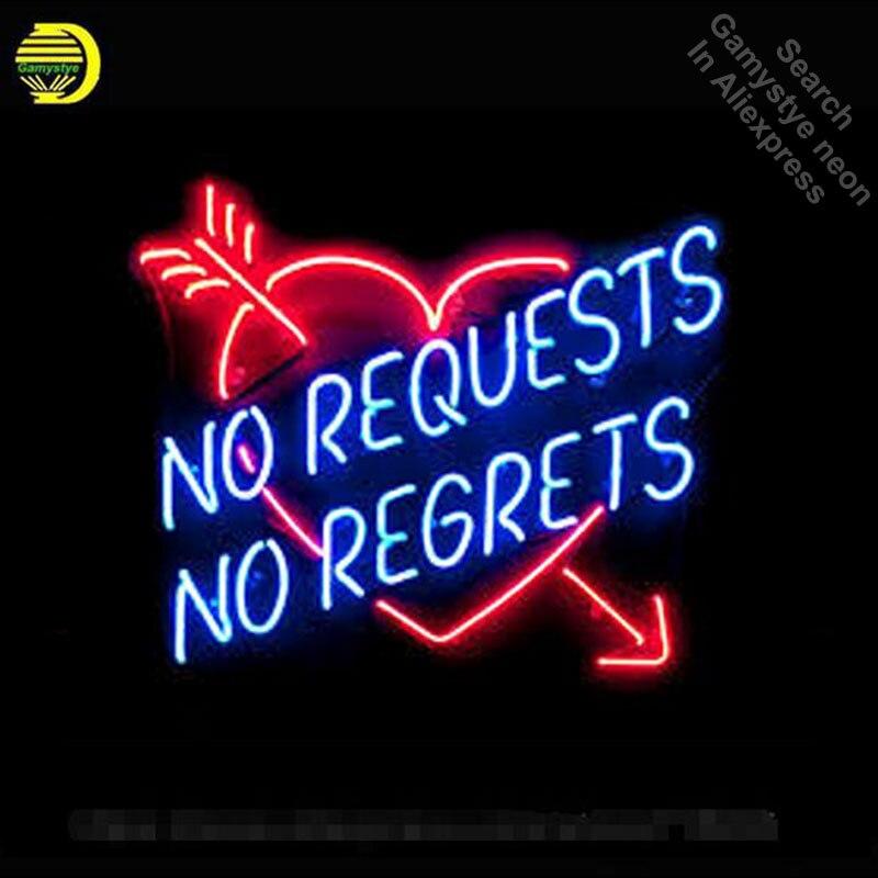 Enseigne au néon pour aucune demande aucun regret vrais Tubes en verre ampoules au néon coeur néon fenêtres lumière enseignes au néon faites main sur mesure à vendre