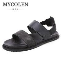 MYCOLEN Summer Men Sandals Genuine Shoes Fashion Brand Men High Quality Leisure Beach Leather Sandals Fashion Summer Sandals