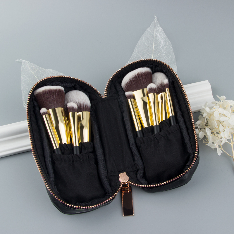 Image 2 - Anmor 9PCS Mini Soft Makeup Brushes Set Kit Portable Kabuki Brush For Make up Professional Cosmetic Travel Bag pincel maquiagemEye Shadow Applicator   -