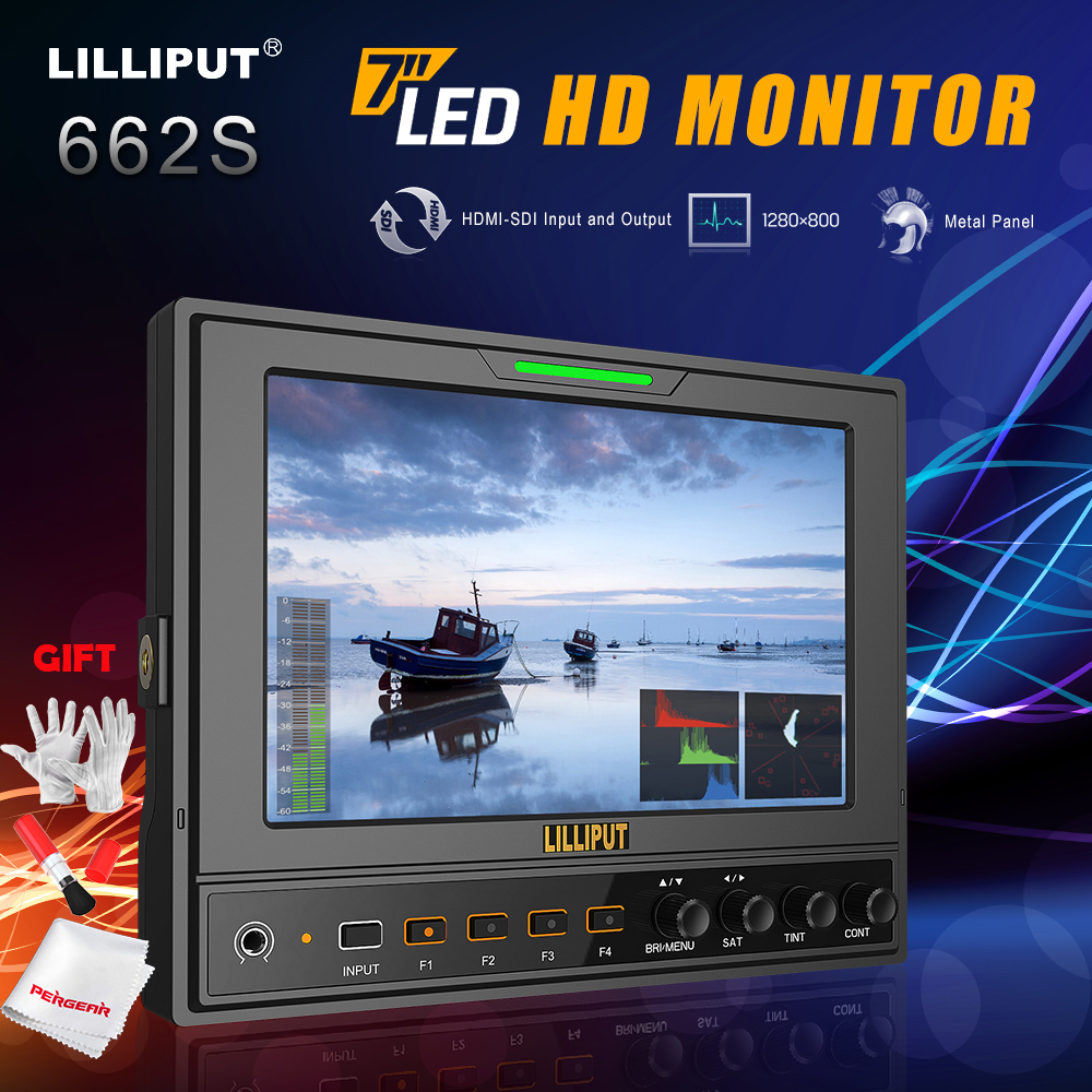 Lilliput 662/S 7 IPS 1280*800 HD Camera Field Professional Monitor HD-SDI Input/Output+Battery Plate+Sunshade Cover+Shoe Mount new aputure vs 5 7 inch 1920 1200 hd sdi hdmi pro camera field monitor with rgb waveform vectorscope histogram zebra false color