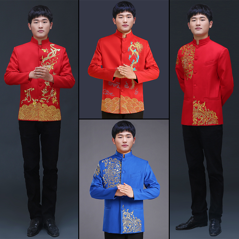 Men's clothing pratensis chinese style wedding Top  the groom dragon gown evening Red Top slim red tang suit chinese tunic
