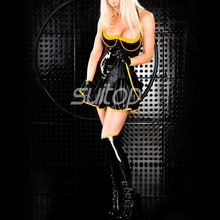 Latex dress with bra sheath skirt lingerie Rubber sexy club sundrress candy cute