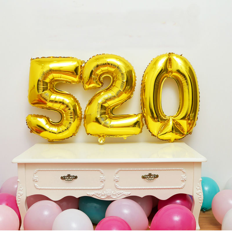 32 inch Golden silver Number foil Balloons Digit Helium Ballons Birthday Party Wedding Decor Air Baloons Event Party Supplies number