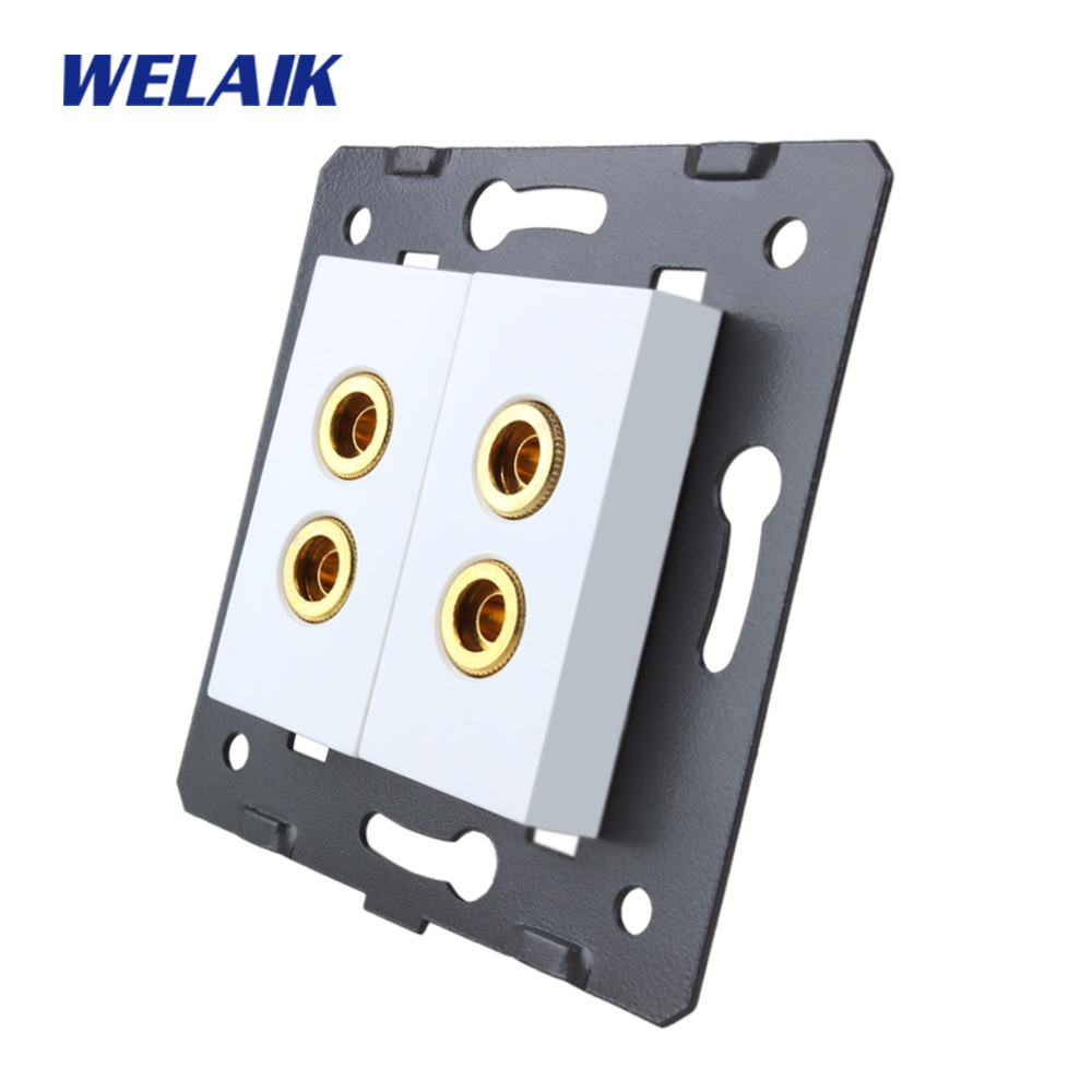 WELAIK EU Standard 2 speaker Socket DIY Parts White parts wall speaker socket Without Glass Panel A82SOW diy parts rca socket connectors white silver 10 piece pack