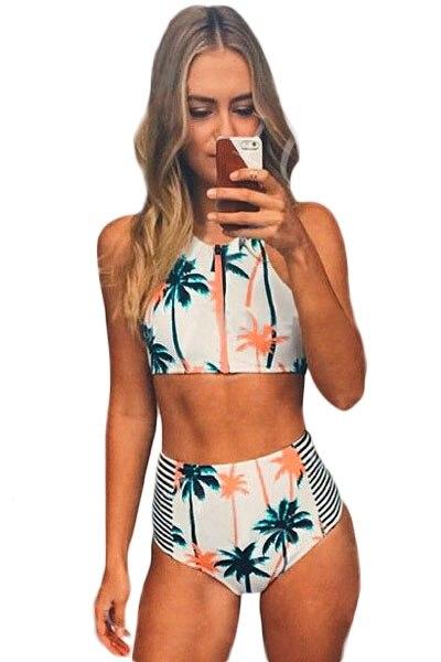 Retro Beach Swimsuit Bathing Suit Swimsuit High Waist Bikini Swimwear Palm Tree Printed Stripe Tankini Crop Top Biquini 41453 al023 maios femininos biquini vintage 2016 may beach luxury leaf print bikini departure miley cyrus costume palm tree bikini