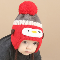 Baby Knitted Hats Fashion Penguin Protect Ears Keep Warm Hat Infant Cute Cap Autumn Winter For