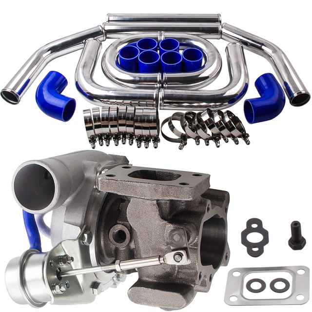 """Universal T25 T28 GT2871 Turbo +2.5"""" 64mm Intercooler Piping pipe Blue hose Kits"""
