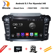 HD 7 inch 1024*600 Capacitive Screen Quad Core Android 5.1.1 Auto PC 2 Din Car DVD GPS For Hyundai i40 2011-2013 Stereo Radio