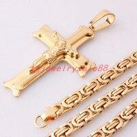 Chic Złoty Kolor Granny Jezus Krzyż Wisiorek Moda męska Biżuteria Ze Stali Nierdzewnej 6mm Szerokie Pole Bizantyjski Łańcucha 18-36 cali