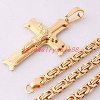Granny Chic Gold Color Jesus Cross Pendant Fashion Men S Stainless Steel Jewelry 6mm Wide Byzantine