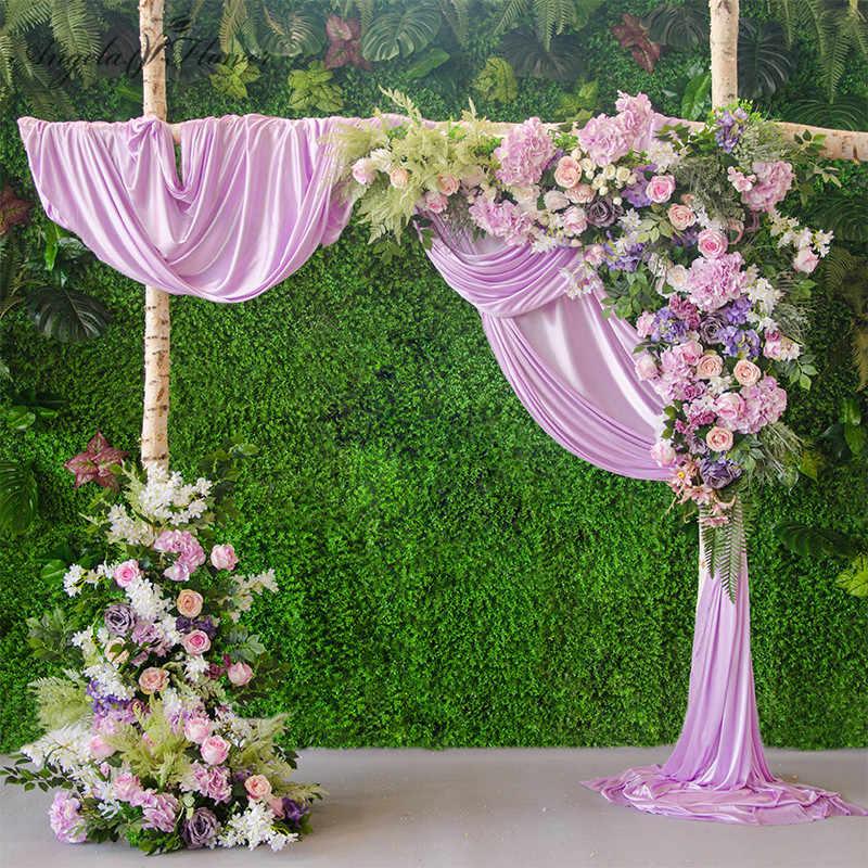 Diy Wedding Arch.Diy Wedding Decor Prop Artificial Flower Row Road Arch Silk Rose Peony Luxury Plant Mix Hotel Flower Wall Arrangement 1 Set