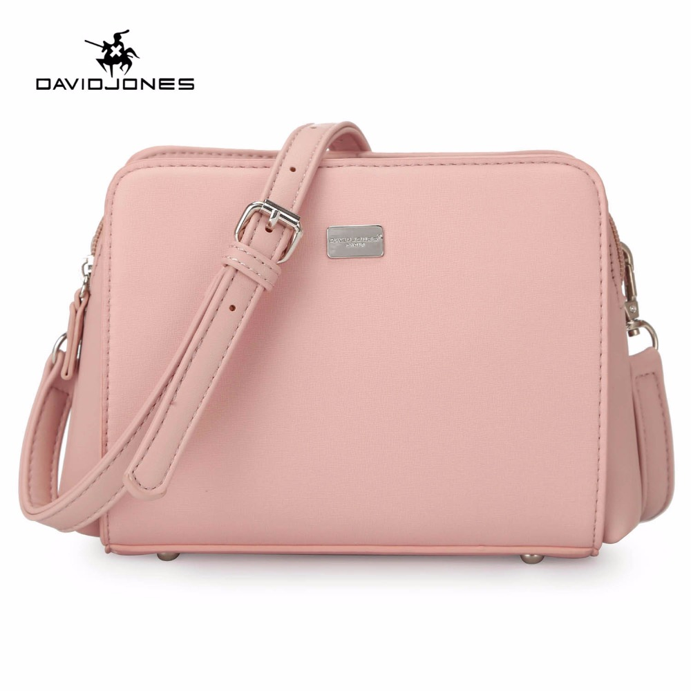 DAVIDJONES Female Handbags PU Leather Messenger Bags Zipper Vintage Women Shoulder Bags Solid Totes Bag Handbag For Women Sac
