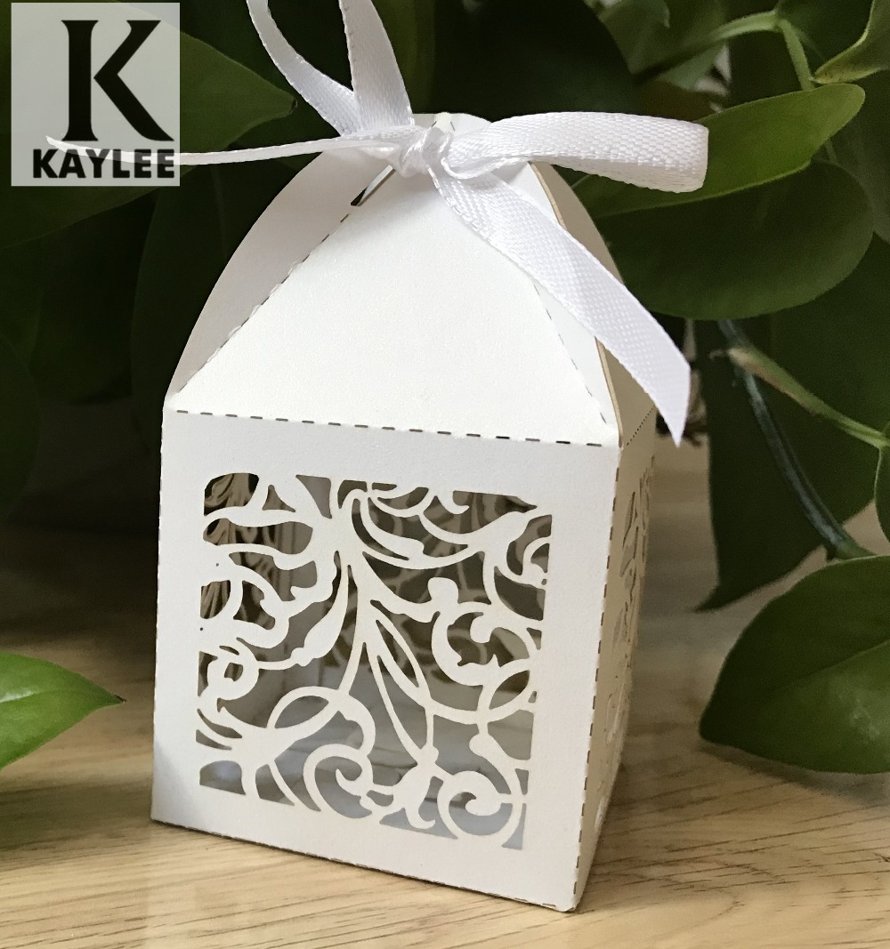 100pcs Elegant Wedding Favor Boxes with ribbon,Laser Cut Birthday ...