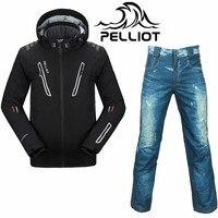 Профессиональный Пелльо лыжный костюм Для мужчин Водонепроницаемый сноуборд куртка лыжные штаны супер теплая дышащая Сноубординг костюмы