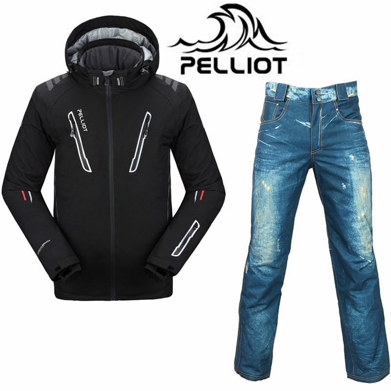 Professionale Pelliot Tuta Da Sci Da Uomo Impermeabile Giacca Da Snowboard Pantaloni Da Sci Super-Caldo Snowboard Traspirante Vestiti di Sci Esterno