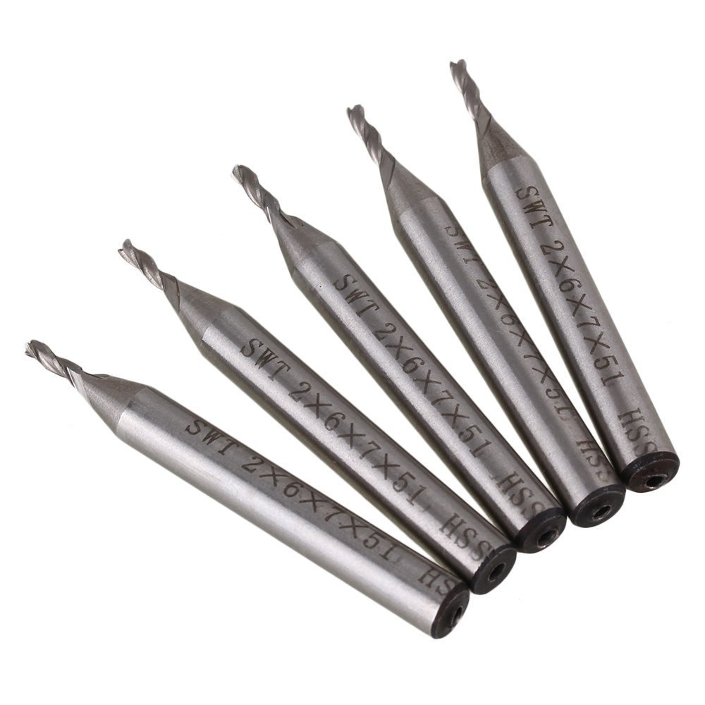 5pcs Solid Carbide High-Speed HSS 3 Flutes Straight Shank Milling Cutter End Mill With 2mm Cutting Dia