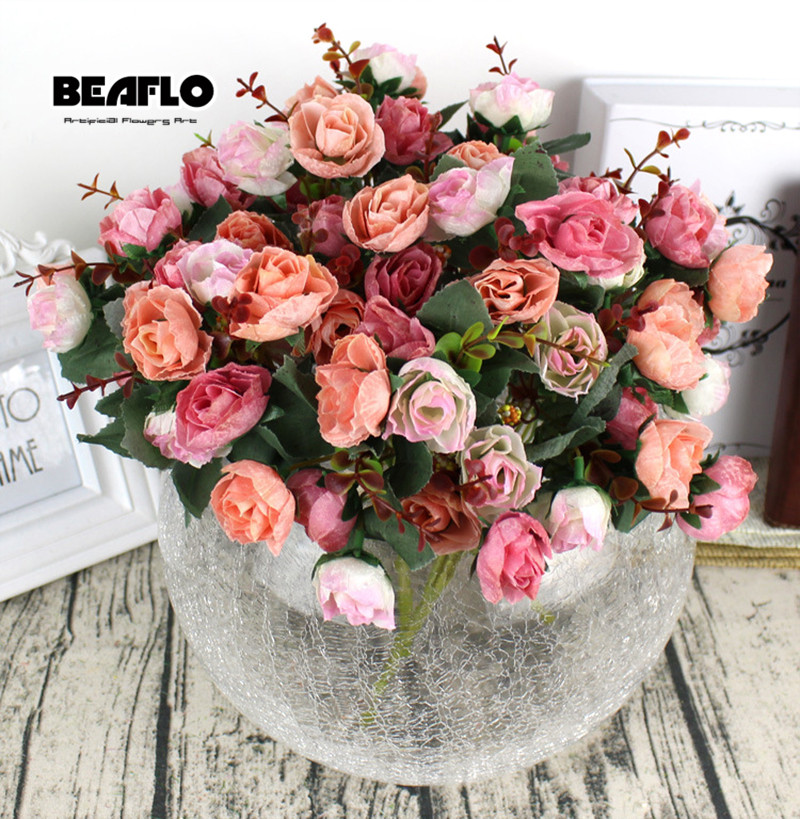 Image 2 - 1Bunch Fresh Artificial Rose Flowers 21 heads Romantic DIY Fake Silk floral for Wedding Party Home Decoration-in Artificial & Dried Flowers from Home & Garden