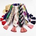 Весной и летом подвески диких небольшой шарф Шифон атласная кисточкой шарф Женщины ожерелье шарф