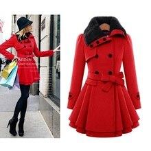 2015 New Fashion Winter Women Double-breasted Wool Slim Belt Thicken Fur Linned Coat Jacket Dress