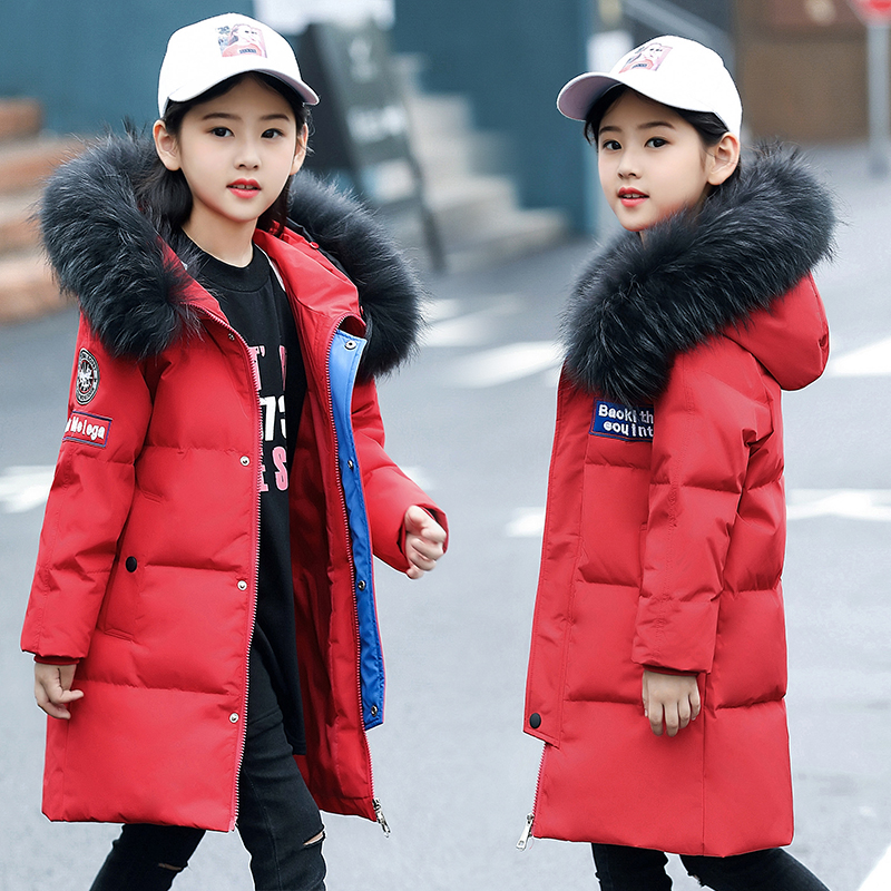 2018 New Fashion Children Winter Jacket Girl Winter Coat Kids Warm Thick Fur Collar Hooded long down Coats For Teenage 6Y-14Y girls down coats girl winter new 2018 fashion children coat kids warm thick fur collar hooded long down parka for teenage 4y 14y