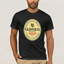 Create T Shirt O-Neck Men Short Sleeve Tall Guinness Beer Black&White Mens Round Neck T-Shirt Size S-3XL