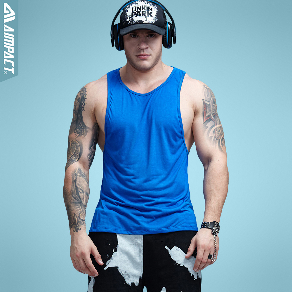 6d1d73a3ee Aimpact Mens Workout Tank Tops Fitness Bodybuilding Clothing Low Cut  Armholes Vivid Vest Muscle Singlets Men