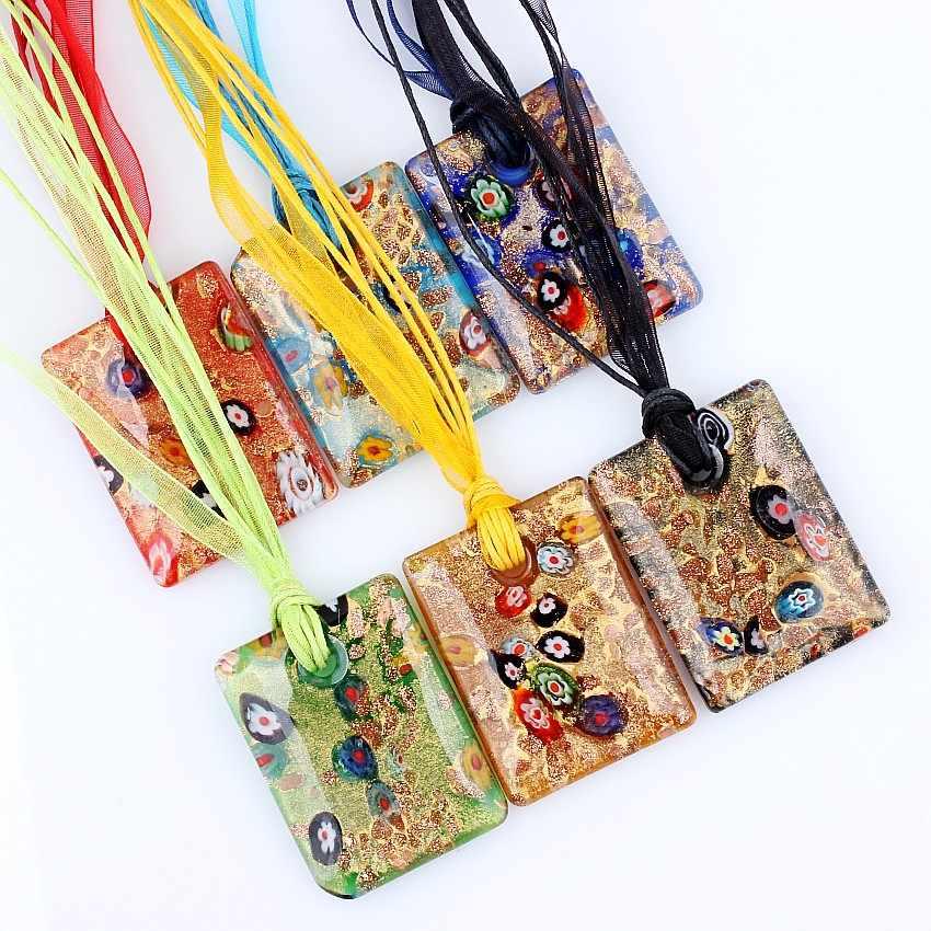Grosir 6 Pcs Pasir Emas Murano Lampwork Kaca Persegi Bunga Liontin Perak P Kecantikan Pesona Kalung untuk Wanita hadiah