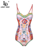 LD LINDA DELLA Summer Women Clothing Playsuit Sexy Floral Print Bohemian Holiday Beach Skinny Bodysuits High Quality