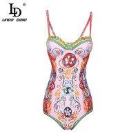 LD LINDA DELLA Summer Women Clothing Playsuit Sexy Floral Print Bohemian Holiday Beach Skinny Bodysuits High Quality