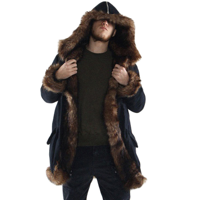 Mens winter hooded jacket Faux Fox Fur inner single Breasted coat Fashion thick warm long section Overcoat Casual parkas men
