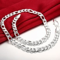 Newest Fashion 925 Sterling Silver Necklaces 24 10MM Figaro Chain Necklace For Men Jewelry Thick Necklace