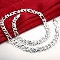 "Nueva Moda de Ley 925 Collares de Plata 24 ""10 MM Figaro Collar de Cadena Para Hombres Joyería Collar Grueso Joyería Africana N013"