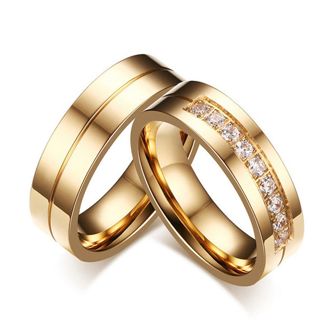 379478c24 Hot Sale Gold Color Wedding Rings For Men Women CZ Couple Ring 316L  Stainless Steel Engagement