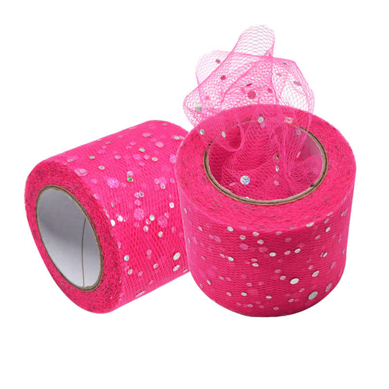 25 Yards Glitter Sequin Tulle Roll Organza Spool Tutu Wedding Decoration Birthday Party Kids Favors Baby Shower