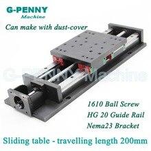 כבד סוג CNC Z ציר הזזה שולחן נסיעה motion אורך 200mm HG20 ליניארי רכבת מדריך ליניארי motion כדור בורג 1610/1605