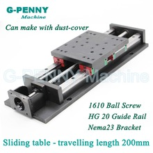 Heavy Type CNC Z Axis sliding table traveling Motion length 200mm  HG20 Linear Guide Rail linear motion  Ball Screw 1610 /1605