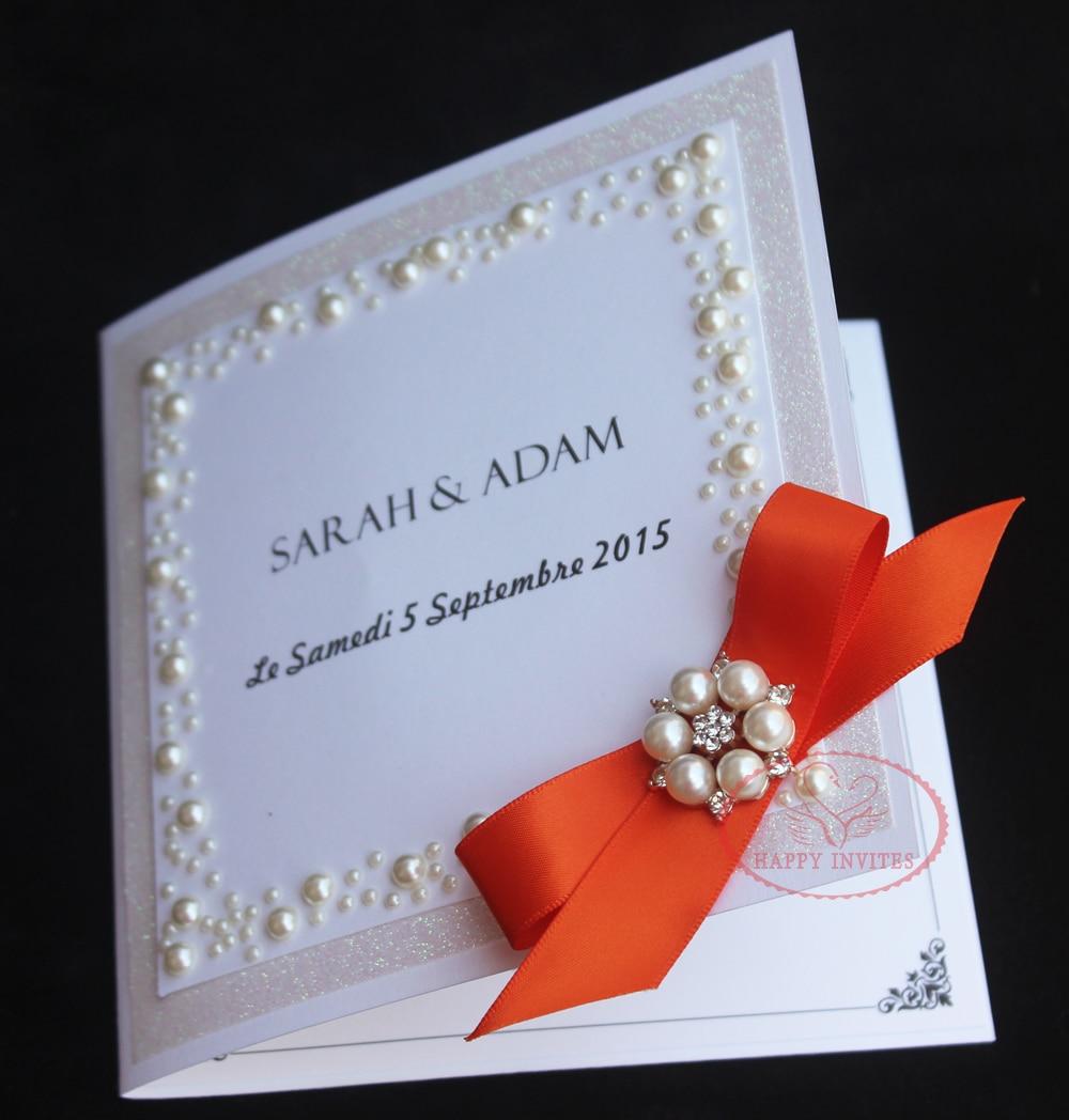 HI1093 Customized Luxury Glitter Wedding Invitation Card with Pearl ...