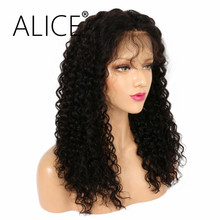 ALICE 150 Density Lace Frontal Wigs Pre Plucked Natural Color Kinky Curly Remy Hair Brazilian Lace Front Wigs 8-24 Inches