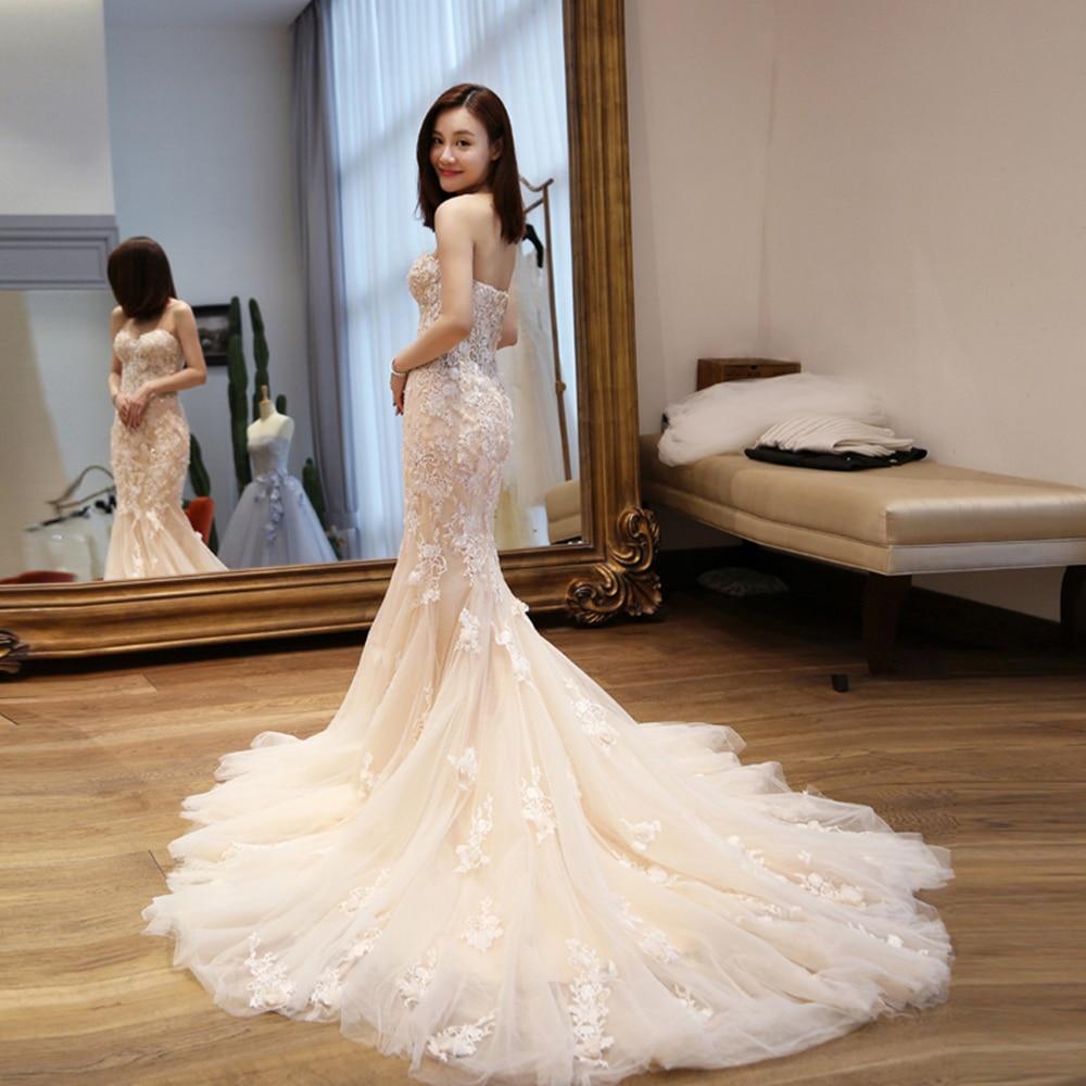 8084db3139 Vestido De Noiva Sereia 2019 New Arrive Beading Appliques Flowers Mermaid  Wedding Dresses With Shawl Online