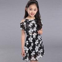 Büyük Kız Elbise Yaz 2016 Yeni Çocuk giyim Çocuklar Çiçek elbise Şifon Prenses Elbiseler Kızlar Çocuklar 10 11 12 13 yıl