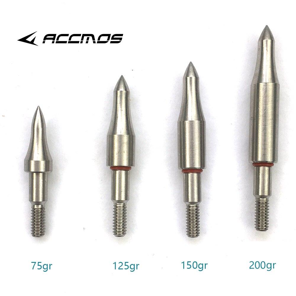 DIY 75 100 125 150 200 250 300 Grain Stainless Steel Arrow Point Tip For OD7.6mm 7.9mm Arrow Shaft  Broadhead Arrow Head