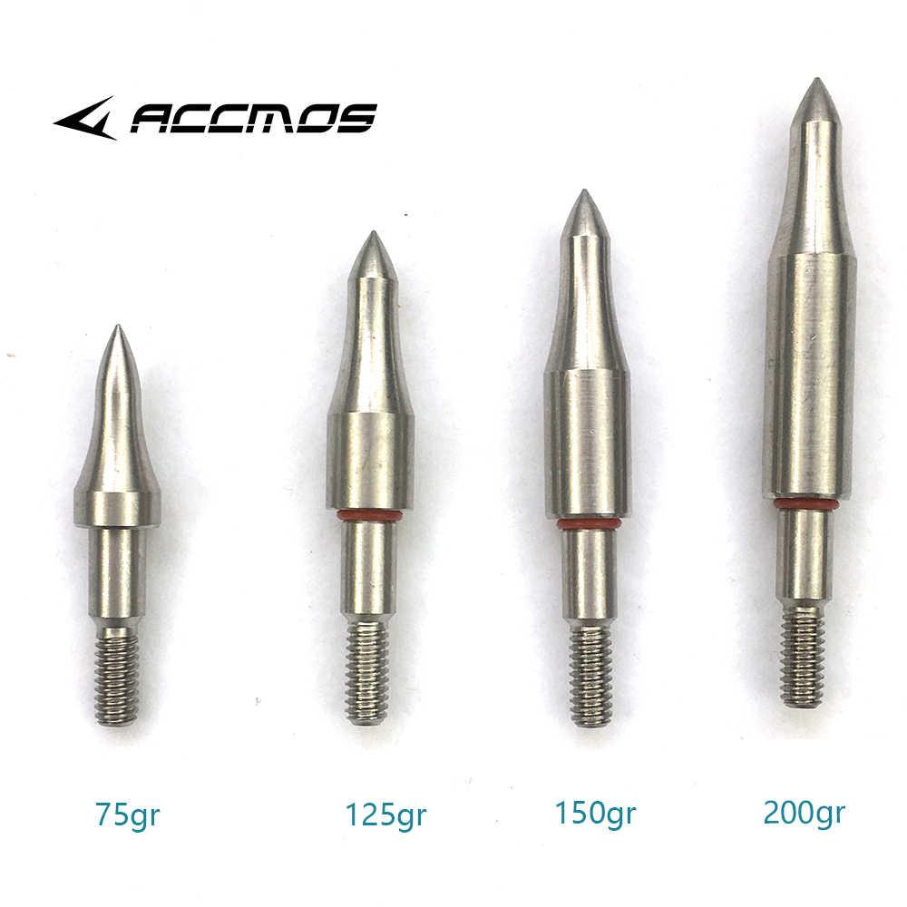 Diy 75 100 125 150 200 250 300 粒ステンレス鋼矢印ポイントため OD7.6mm 7.9 ミリメートル矢印シャフトブロードヘッド矢印ヘッド