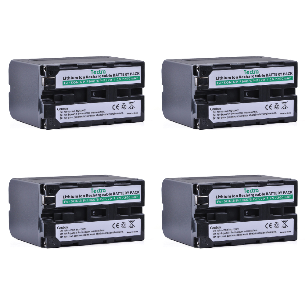 Tectra 4PCS NP-F960 NP-F970 NP F960 NP F970 Li-ion Camera Bateria for Sony NP-F550 F550 NP-F770 NP-F750 F960 F970 4pc 7200mah np f960 np f970 f970 battery packs lcd ultra fast dual charger plug kits for sony np f550 np f770 np f750 f960 f970