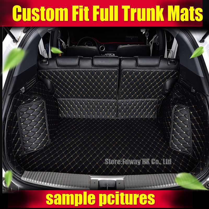 Custom fit car trunk mat for Ford Edge Escape Kuga Fusion Mondeo Ecosport Focus Fiesta car styling tray carpet cargo liner custom cargo liner car trunk mat carpet interior leather mats pad car styling for dodge journey jc fiat freemont 2009 2017