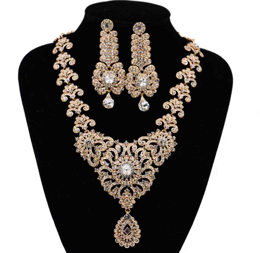 Women Statement India style Necklace earrings Bridal wedding Party Necklace Water Drop Type Golden Plated Crystal Jewelry Sets