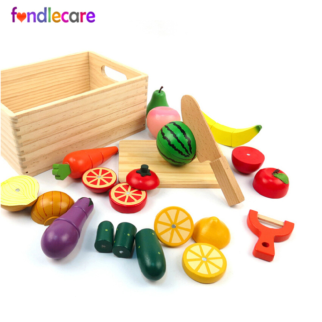 c5dde1cb636 Fondlecare Wooden simulation cut vegetables fruit game magnetic toy kids kitchen  toys pretend play house toy for Children