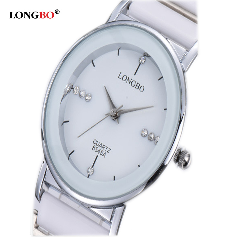 Luxury White Ceramic Water Resistant Ceramic Sports Women Wrist Watch,Free Shipping Top Quality Rhinestone Steel Men Watch 8545