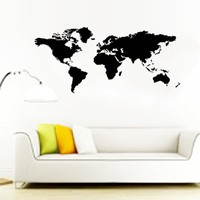 1103 200 90cm Large Black World Map Wall 3D Stickers Hall Office Living Room Classroom Decor